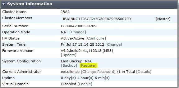FortiGate Firewall Configuration Backup and Restore procedure